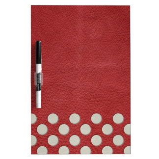 White Polka Dots on Red Leather print Dry-Erase Boards