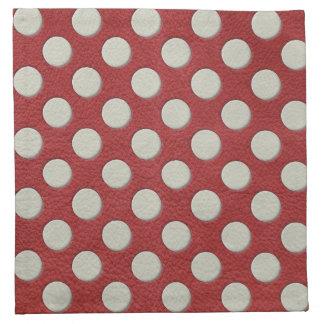 White Polka Dots on Red Leather print Printed Napkin