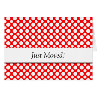White Polka-Dots on Red New Address Card