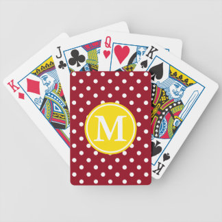 White Polka Dots on Red With Yellow Monogram Bicycle Playing Cards