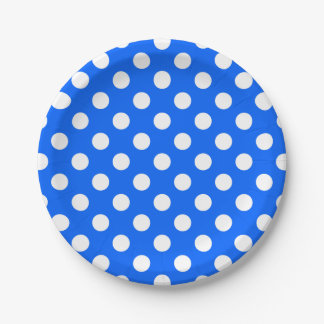 White polka dots on royal blue 7 inch paper plate
