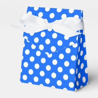 White polka dots on royal blue wedding favor boxes