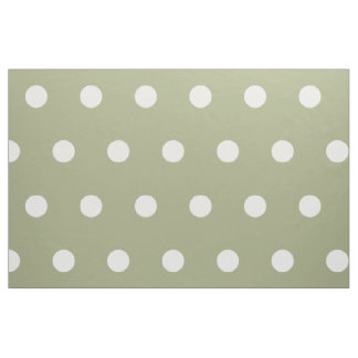 White Polka Dots on Sage Green Fabric