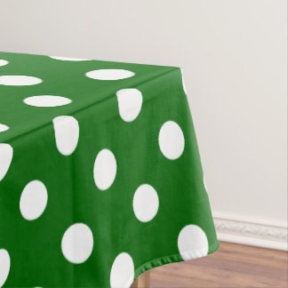 White Polka Dots on School Days Green Tablecloth