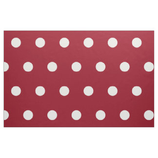 White Polka Dots on School Days Red Fabric
