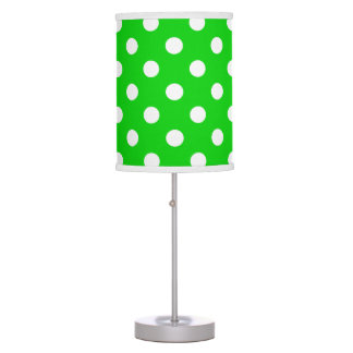 White Polka Dots on Summer Green Table Lamp