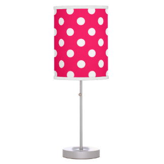 White Polka Dots on Summer Pink Table Lamp