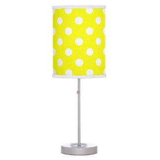 White Polka Dots on Sunshine Yellow Table Lamp