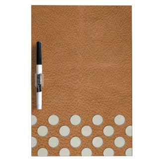White Polka Dots on Tan Leather Print Dry Erase Board
