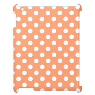 White Polka Dots on Tangerine Orange Cover For The iPad