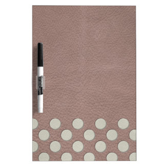 White Polka Dots on Taupe Leather Print Dry Erase Whiteboard