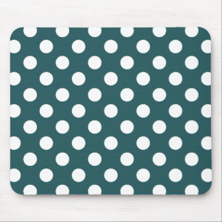 White polka dots on teal mouse pad