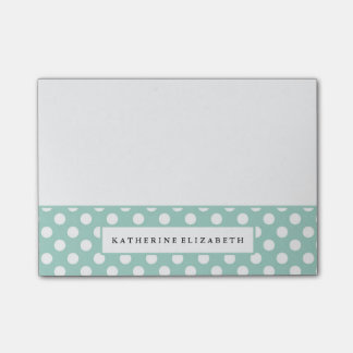 White Polka Dots on Teal with Name Post-it Notes