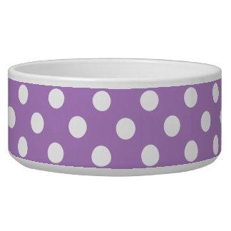 White Polka Dots on Thistle PurpleWhite Polka Dots Pet Bowls