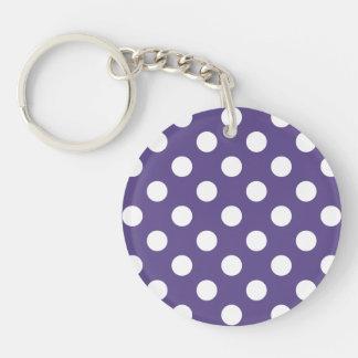White polka dots on ultra violet keychain