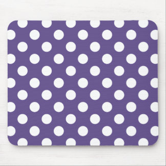 White polka dots on ultra violet mouse pad