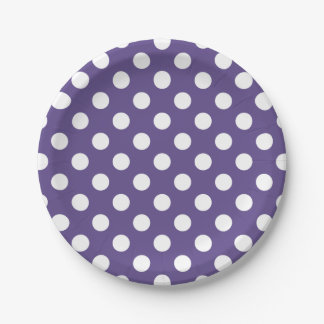 White polka dots on ultra violet paper plate