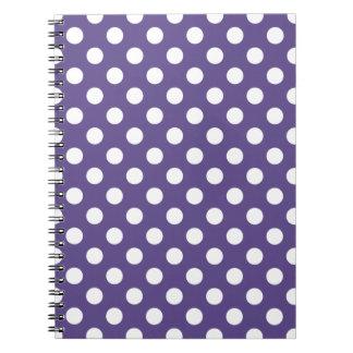 White polka dots on ultra violet spiral notebook