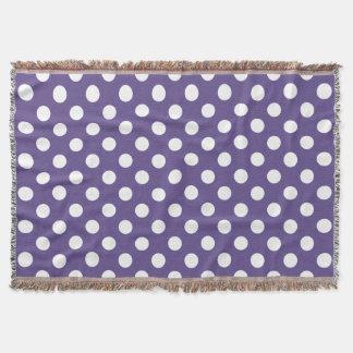 White polka dots on ultra violet throw blanket