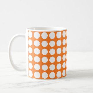 White Polka Dots Orange Coffee Mug