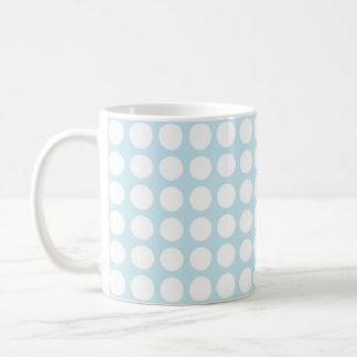 White Polka Dots Pastel Blue Coffee Mug
