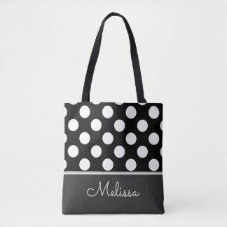 White Polka Dots | Personalized Tote Bag