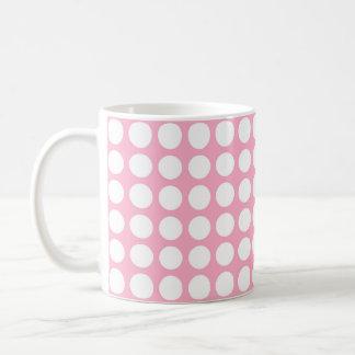 White Polka Dots Pink Coffee Mug