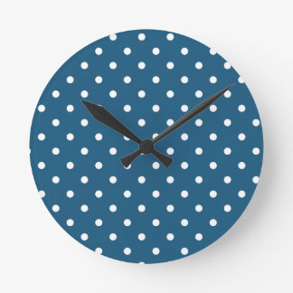 White polka-dots round clock