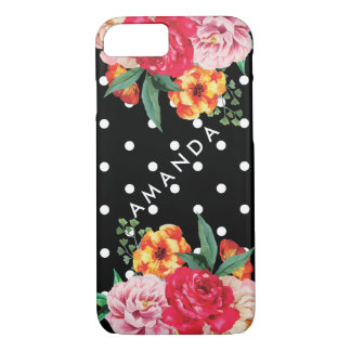 White polka dots Watercolor Peony Flower YOUR NAME iPhone 8/7 Case