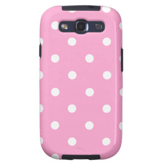 White Polka Dots with Pink Background Samsung Galaxy S3 Cases