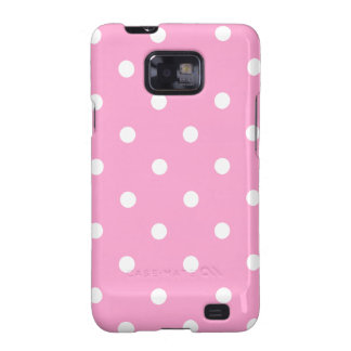 White Polka Dots with Pink Background Samsung Galaxy SII Cases