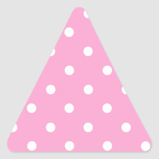 White Polka Dots with Pink Background Triangle Sticker