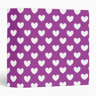 White polka hearts on purple 3 ring binder