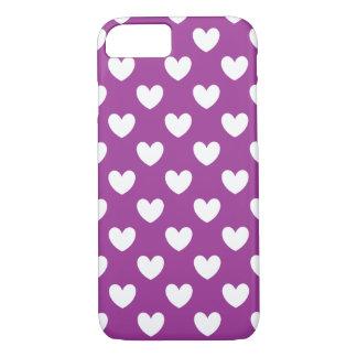 White polka hearts on Purple Cactus Flower purple iPhone 8/7 Case