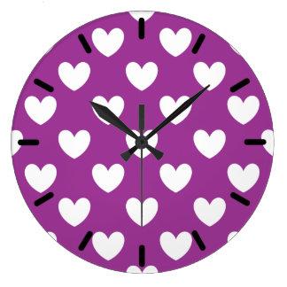 White polka hearts on Purple Cactus Flower purple Large Clock