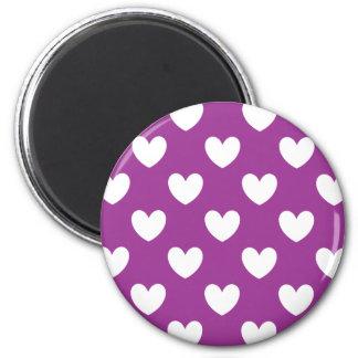White polka hearts on Purple Cactus Flower purple Magnet