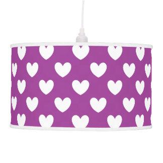 White polka hearts on Purple Cactus Flower purple Pendant Lamp