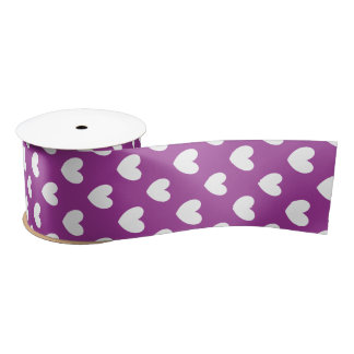White polka hearts on Purple Cactus Flower purple Satin Ribbon