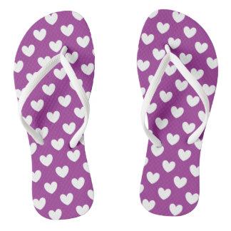 White polka hearts on purple flip flops