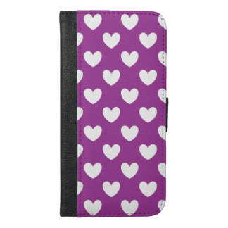 White polka hearts on purple iPhone 6/6s plus wallet case