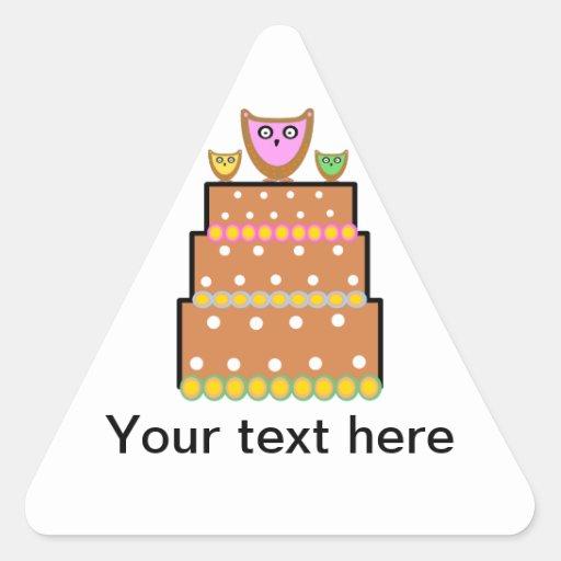 White polkadot owl cake triangle sticker