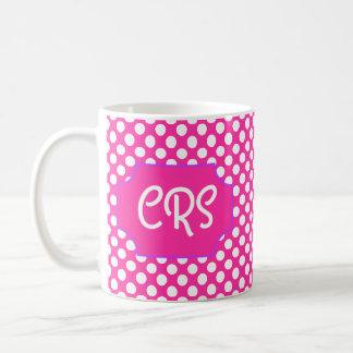 White Polkadots, Pink Background, with Name Plate Coffee Mug