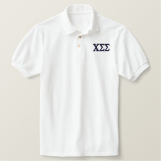 White Polo with Navy Letters