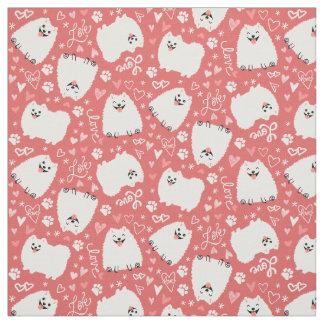 White Pomeranian Pattern with Hearts Fabric
