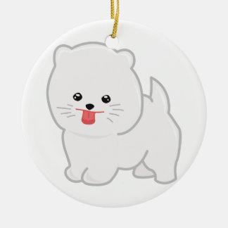 White Pomeranian, Polka Dot Background Ceramic Ornament