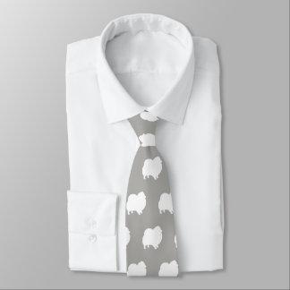 White Pomeranian Silhouettes Pattern Tie