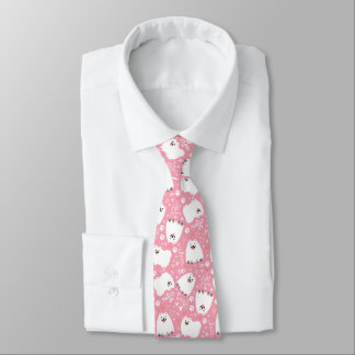 White Pomeranians and Hearts Pattern Tie