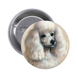 White Poodle 2 Inch Round Button