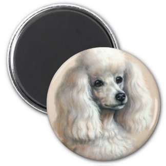 White Poodle 2 Inch Round Magnet