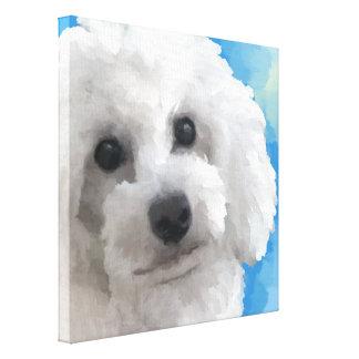 White Poodle Art Canvas Print